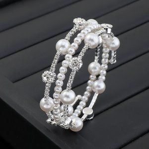 3/$20 New Rhinestone & Pearl Layered Bracelet